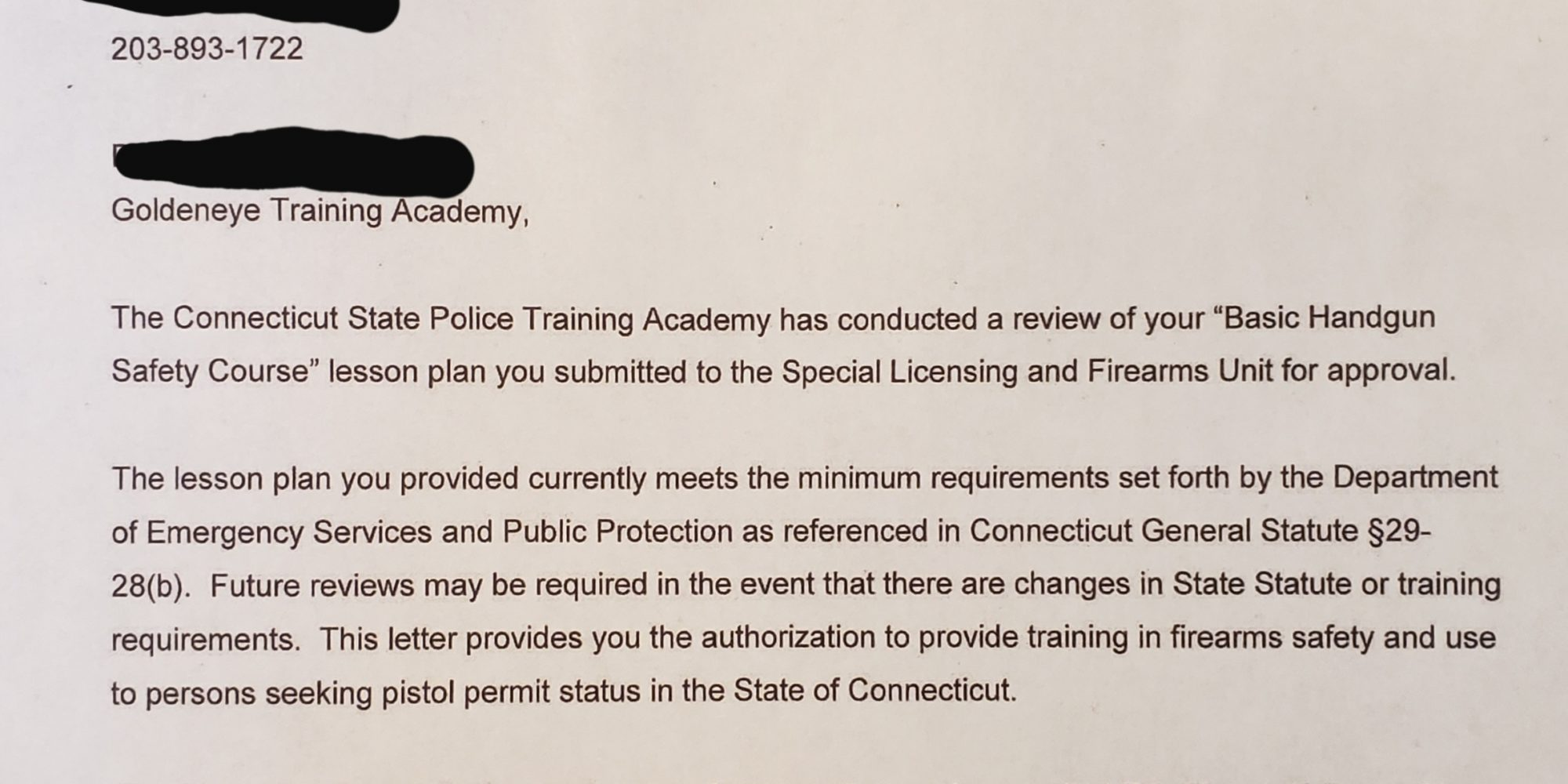 CT State Police Basic Firearm Safety Course Letter